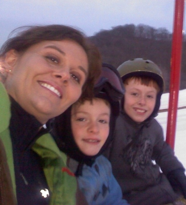Ski-Slope Selfie: Angelia with her sons Sam and Austin