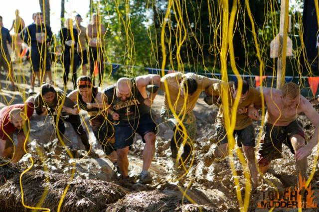 Working together during the Tough Mudder race