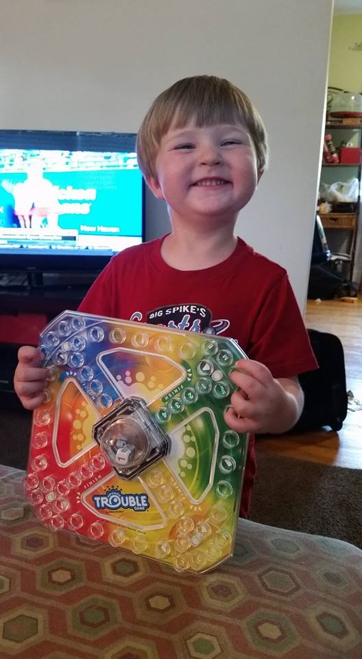 3 year old Aidan loves family game night
