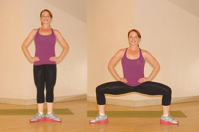 plie squats and calf raises are exercises you can do away from the gym