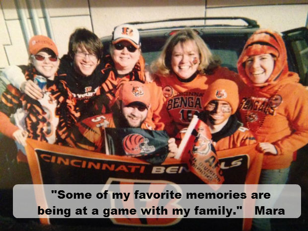 sports fan mara and her family at a bengals game